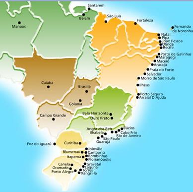 Brazilija ir jos pupuliariausi kurortai, paplūdymiai